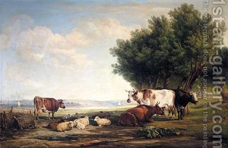 Cattle And Sheep In A River Landscape by Henry Brittan Willis, R.W.S. - Reproduction Oil Painting