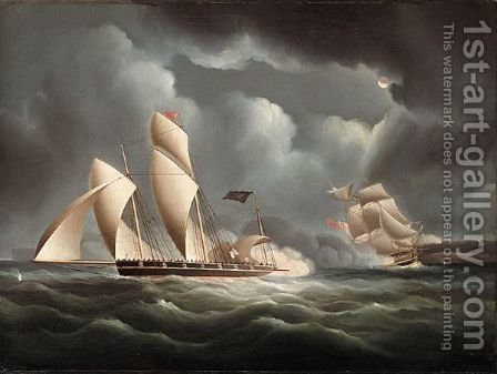 A British Frigate Attacking A Pirate Lugger At Night by (after) James E. Buttersworth - Reproduction Oil Painting