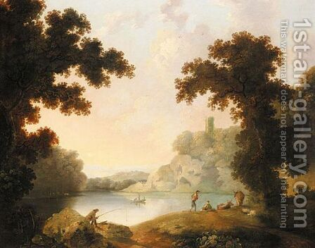 Wooded Landscape With Figures By A Lake, And A Distant Town by (after) George Barret - Reproduction Oil Painting