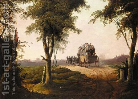A Stagecoach On The Dover Road by (after) Loutherbourg, Philippe de - Reproduction Oil Painting