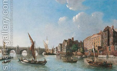 A View Of Westminster Bridge And Surrounding Buildings by (after) Samuel Scott - Reproduction Oil Painting