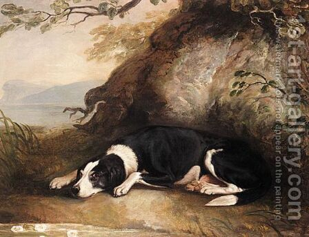 A Dog Resting In A Landscape by (after) Sawrey Gilpin - Reproduction Oil Painting