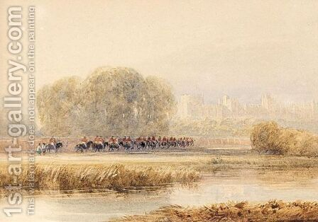 Horsemen Approaching Windsor Castle by David Cox - Reproduction Oil Painting