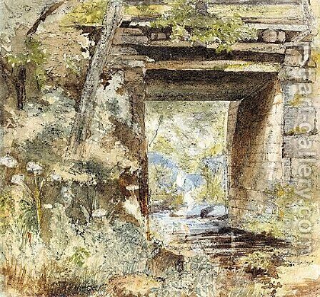 A Bridge Over A Stream by (after) Samuel Palmer - Reproduction Oil Painting