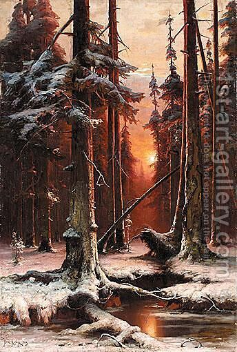 Forest At Sunset by Iulii Iul'evich (Julius) Klever - Reproduction Oil Painting