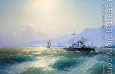 The Allied Naval Blockade Of Crete, 1897 by Ivan Konstantinovich Aivazovsky - Reproduction Oil Painting