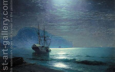 Moonlight In The Ayu Dag by Ivan Konstantinovich Aivazovsky - Reproduction Oil Painting