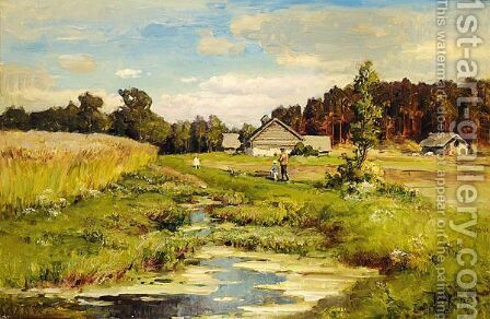 Strolling Along The Riverbank by Iulii Iul'evich (Julius) Klever - Reproduction Oil Painting