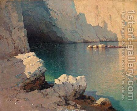 Two Seascapes Cavern Entrance And Rowing Boats Moored At Night by Aleksei Vasilievich Hanzen - Reproduction Oil Painting