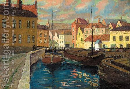 Barges On The Canal by Alexander Georgievich Yakimchenko - Reproduction Oil Painting