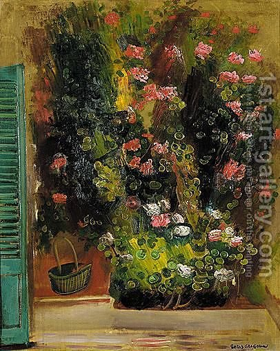 Still Life With Flowers And Green Shutters by Boris Dmitrievich Grigoriev - Reproduction Oil Painting