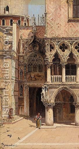 La Porta Del Palazzo, Venezia by Antonietta Brandeis - Reproduction Oil Painting