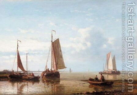 Shipping In An Estuary by Abraham Hulk Jun. - Reproduction Oil Painting