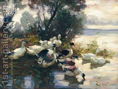 Elf Enten (Eleven Ducks) by Alexander Max Koester - Reproduction Oil Painting