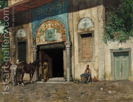 The Ottoman Portico by Alberto Pasini - Reproduction Oil Painting