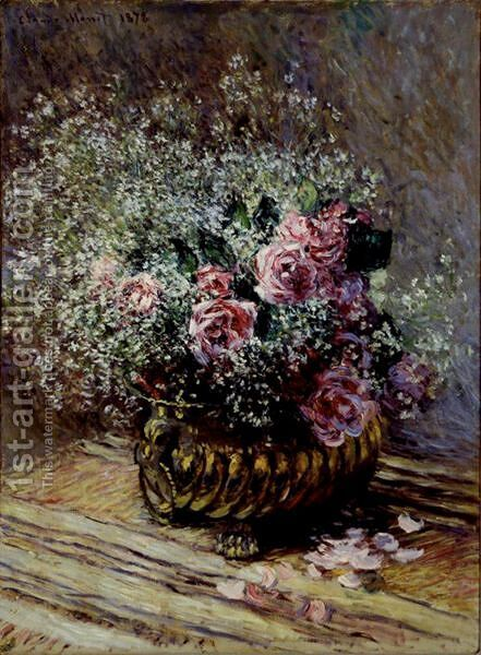 Fleurs Dans Un Pot (Roses Et Brouillard) by Claude Oscar Monet - Reproduction Oil Painting