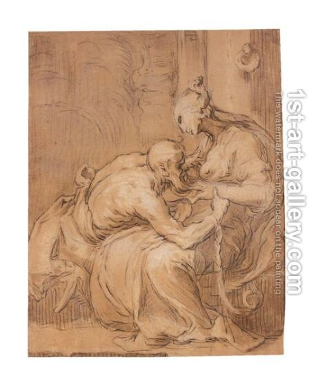 Roman Charity by Abraham Bloemaert - Reproduction Oil Painting