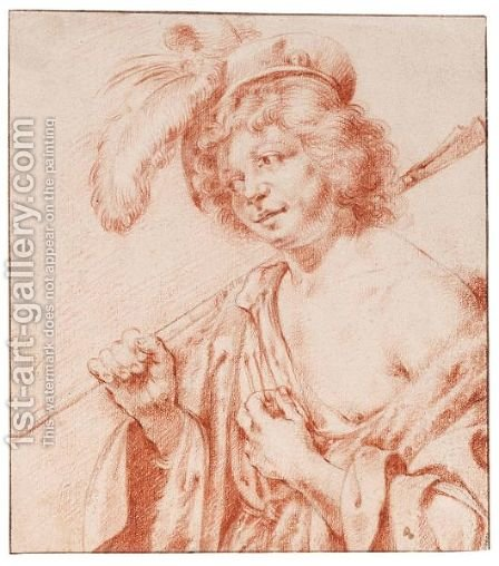 Half-Length Study Of A Young Man In Arcadian Costume by (after) Jan Van Bijlert - Reproduction Oil Painting