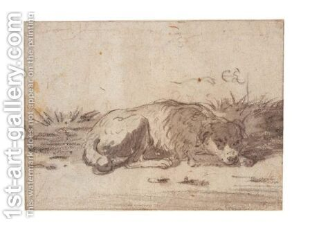 Study Of A Sleeping Dog by Cornelis Saftleven - Reproduction Oil Painting