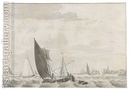 Boats On A Choppy River Estuary by Cornelius van Noorde - Reproduction Oil Painting