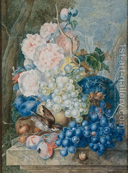 Still Life Of Fruit And Flowers With A Sparrow by Jan van Os - Reproduction Oil Painting