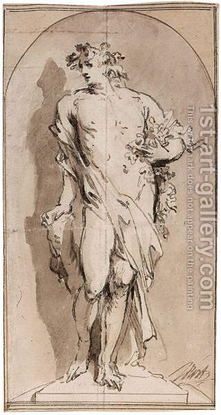 An Allegorical Figure, Perhaps Bacchus, Standing In A Niche by Jacob de Wit - Reproduction Oil Painting