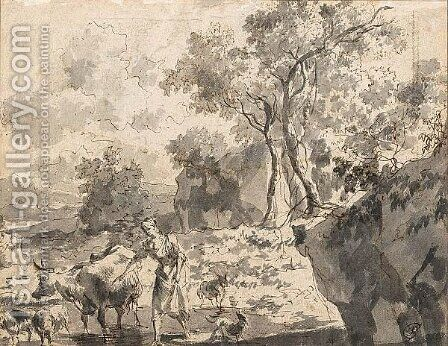 Rocky Landscape With A Peasant Woman And Her Animals In A Stream by Dutch School - Reproduction Oil Painting