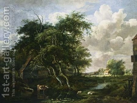 A Wooded Landscape With Houses, Sheep And A Cow Near A Stream, And Two Shepherds Paddling Beyond by Jan Hulswit Amsterdam - Reproduction Oil Painting