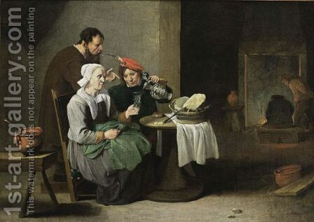 A Peasant Woman And A Young Man Eating And Drinking At A Table, With A Man Standing Behind, Other Figures Near A Fireplace In The Background by Matheus van Helmont - Reproduction Oil Painting