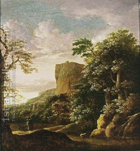 A Southern Wooded Landscape With A Traveller Near A Stream, Mountains Beyond by (after) Cornelis Matthieu - Reproduction Oil Painting