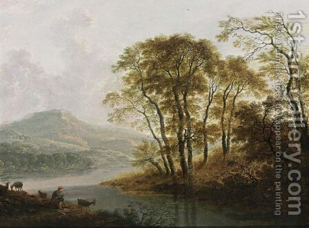 A Wooded River Landscape With A Shepherd And His Flock Resting by Cornelis Matthieu - Reproduction Oil Painting