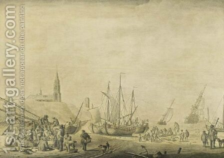The Beach At Scheveningen With Fishermen Unloading Their Vessels And Fishermen Selling The Catch by Cornelis Boumeester - Reproduction Oil Painting
