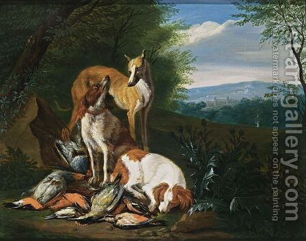 A Hunting Still Life With Partridges, A Woodpecker And Other Birds, Together With Dogs, In A Wooded Landscape by (after) Adriaen De Gryeff - Reproduction Oil Painting