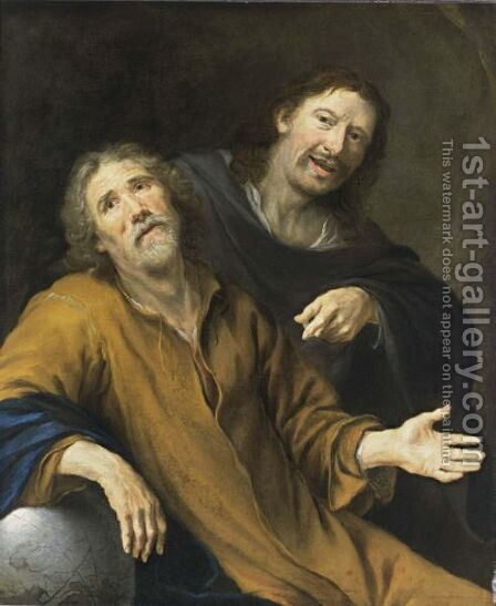 Democritus And Heraclitus by Cornelis Stangerus - Reproduction Oil Painting