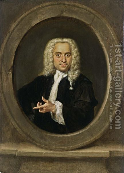 A Portrait Of A Gentleman, Standing Bust Length, Wearing A Black Coat, A White Chemise And A Wig, In A Stone Cartouche by Jan Maurits Quinckhardt - Reproduction Oil Painting