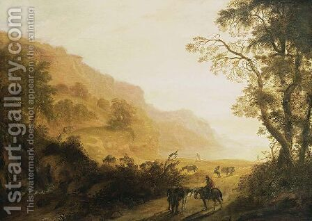 An Italianate Hilly Landscape With Horsemen Resting In The Foreground, Travellers With Donkeys On A Path, And A Waterfall Nearby by Cornelis Matthieu - Reproduction Oil Painting