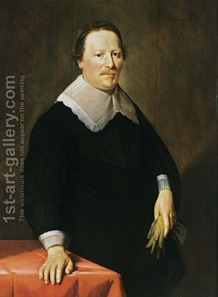 A Portrait Of A Gentleman, Aged 47, Wearing A Black Costume With White Lace Cuufs And Collar, Holding Gloves In His Left Hand by Hendrick Bloemaert - Reproduction Oil Painting