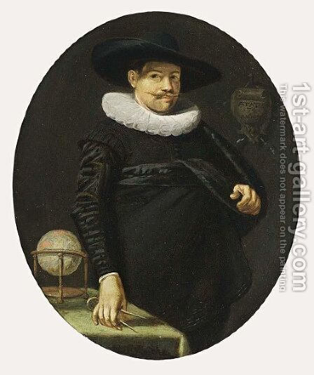 A Portrait Of A Geographer, Aged 34, Standing Three-Quarter Length, Wearing A Black Satin Suit With A White Lace Collar And A Black Hat, A Table With A Globe On The Left by Hendrick Gerritsz Pot - Reproduction Oil Painting