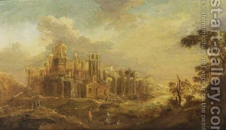 A Classical Landscape With Travellers On A Path Near Antique Ruins by Abraham Van Westerveldt - Reproduction Oil Painting