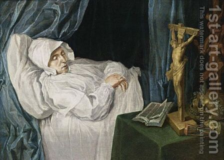 A Woman On Her Deathbed With A Vanitas Still Life On A Table On The Right by Dutch School - Reproduction Oil Painting