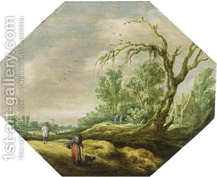 A Wooded Landscape With A Woman And A Dog On A Path Near A House, A River Beyond by (after) Esaias Van De Velde - Reproduction Oil Painting