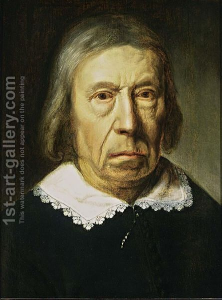A Portrait Of An Elderly Man, Bust Length, Wearing A Black Costume With A White Collar by Dutch School - Reproduction Oil Painting