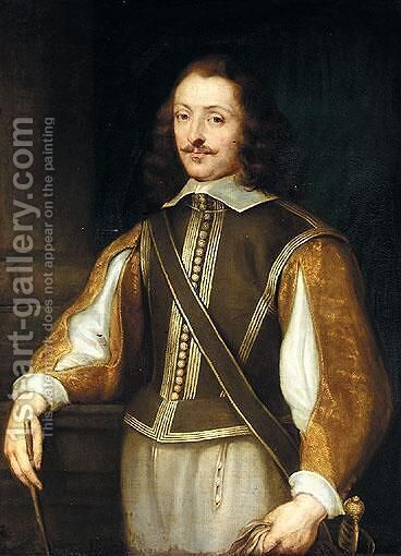 Portrait Of A Gentleman, Three-Quarter Length, Wearing A Brown Jerkin With Slashed Embroidered Gold Sleeves, Holding A Pair Of Gloves by (after) Dyck, Sir Anthony van - Reproduction Oil Painting