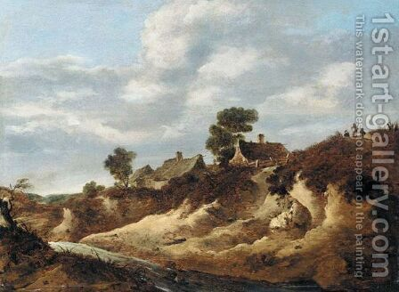 A Dune Landscape With Figures On The Brow Of A Hill Near Some Cottages by Cornelis van Zwieten - Reproduction Oil Painting