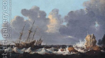A Stormy Seascape With A Shipwreck by (after) Simon De Vlieger - Reproduction Oil Painting
