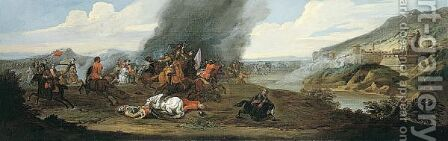 A Cavalry Battle Before A Walled Fortress by (after) Jan Wyck - Reproduction Oil Painting
