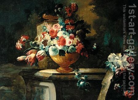 Still Life With Various Flowers In Bronze Urn, On A Stone Ledge In An Ornamental Garden by (after) Francesco Lavagna - Reproduction Oil Painting