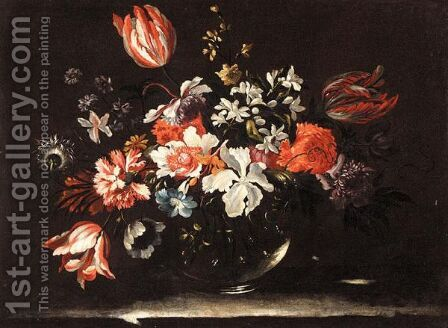 Still Life With Lilies, Irises And Other Flowers In A Glass Vase, On A Stone Ledge by (after) Nicolas Baudesson - Reproduction Oil Painting