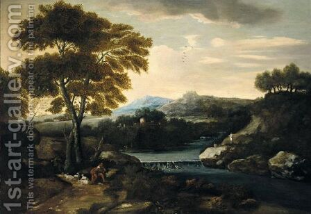 Classical Landscape With A Shepherd Minding His Flock Beside A River, With A Villa Beyond by (after) Gaspard Dughet - Reproduction Oil Painting
