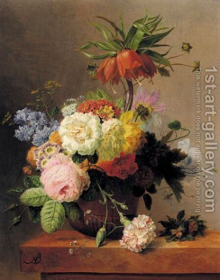 Still-Life With Assorted Flowers by Arnoldus Bloemers - Reproduction Oil Painting